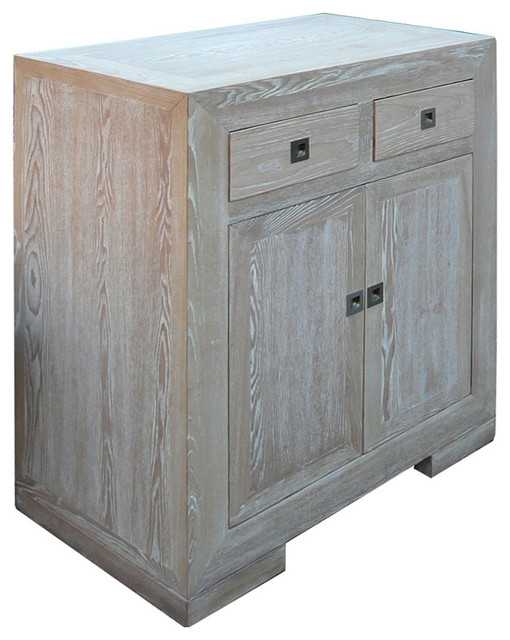 European Style Solid Elm Wood Side Table Storage Cabinet