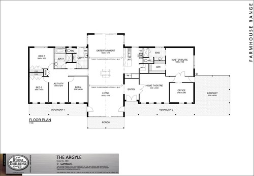 One Story Floor Plan with 5 bedrooms open familykitchendinning