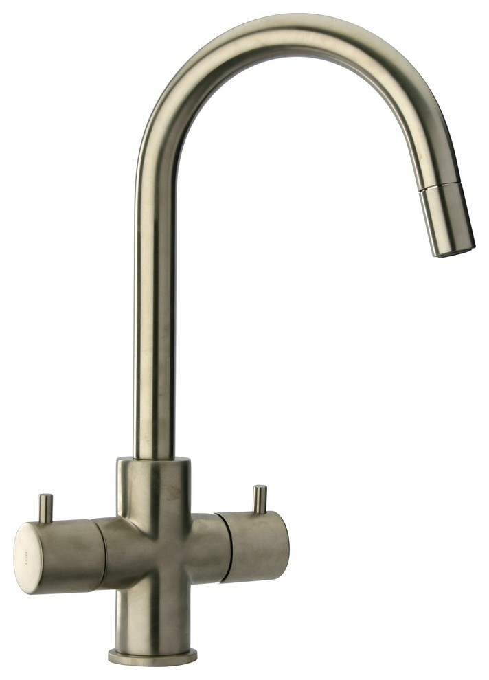Elba 2 Handle Pull Down Kitchen Faucet Brushed Nickel Contemporary Kitchen Faucets By Agm Home Store Llc