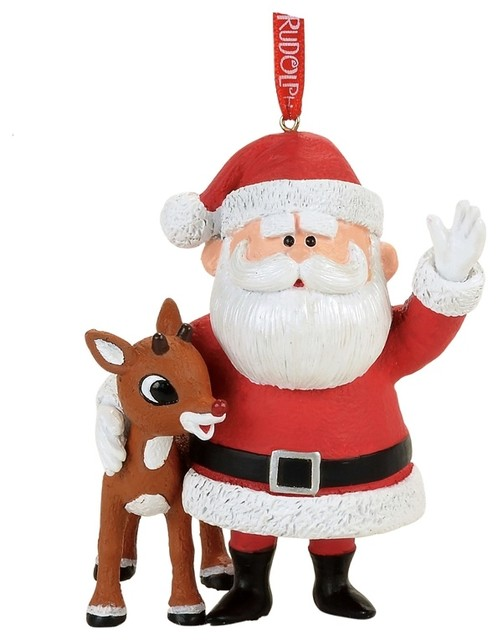 dept 56 rudolph red nosed reindeer santa claus christmas ornament - Rudolph The Red Nosed Reindeer Christmas Decorations
