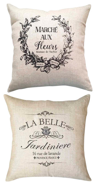 Two Paris French Market Double Sided Ivory Pillows With Fleur Di Lis Pins
