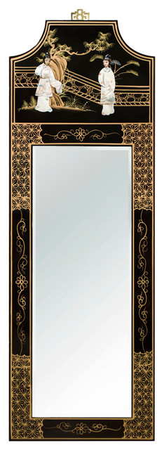 Chinese Wall Mirror With Black Lacquer Wood Frame Asian Wall