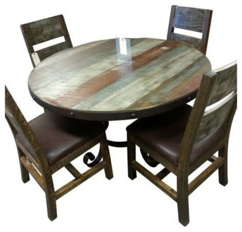 Antique Style Multi Color Pine 5pc Dining Set Rustic