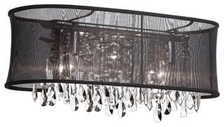 Black Crystal Vanity Lights : 4 Light Crystal Vanity, Black Oval Organza Shade - Modern - Bathroom Vanity Lighting - by Eager ...