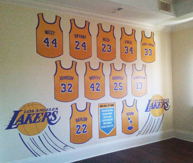 Http Www Houzz Com Photos 13371181 Lakers Hall Of Fame Hand Painted Wall Mural Contemporary Bedroom