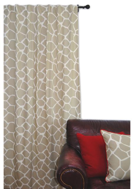 Giraffe Window Panel, Khaki Contemporary Curtains