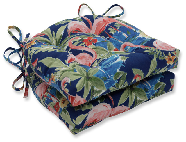 Black Tropical Floral Reversible Patio Chaise Lounge Chair Cushion In Hand//Ship
