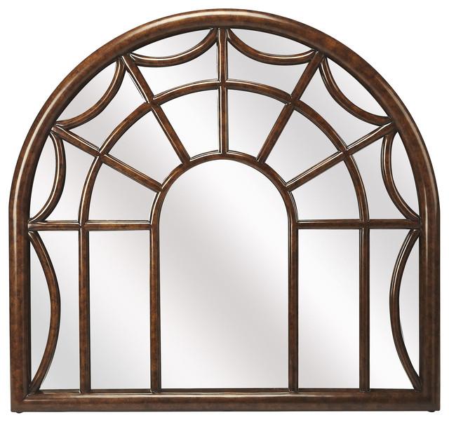 Georgia Arched Window Pane Wall Mirror - Medium Brown.