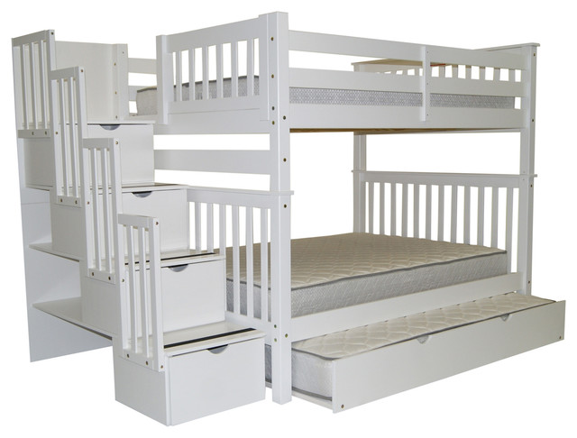 Bunk Beds Full Over Full Stairway White And Full Trundle
