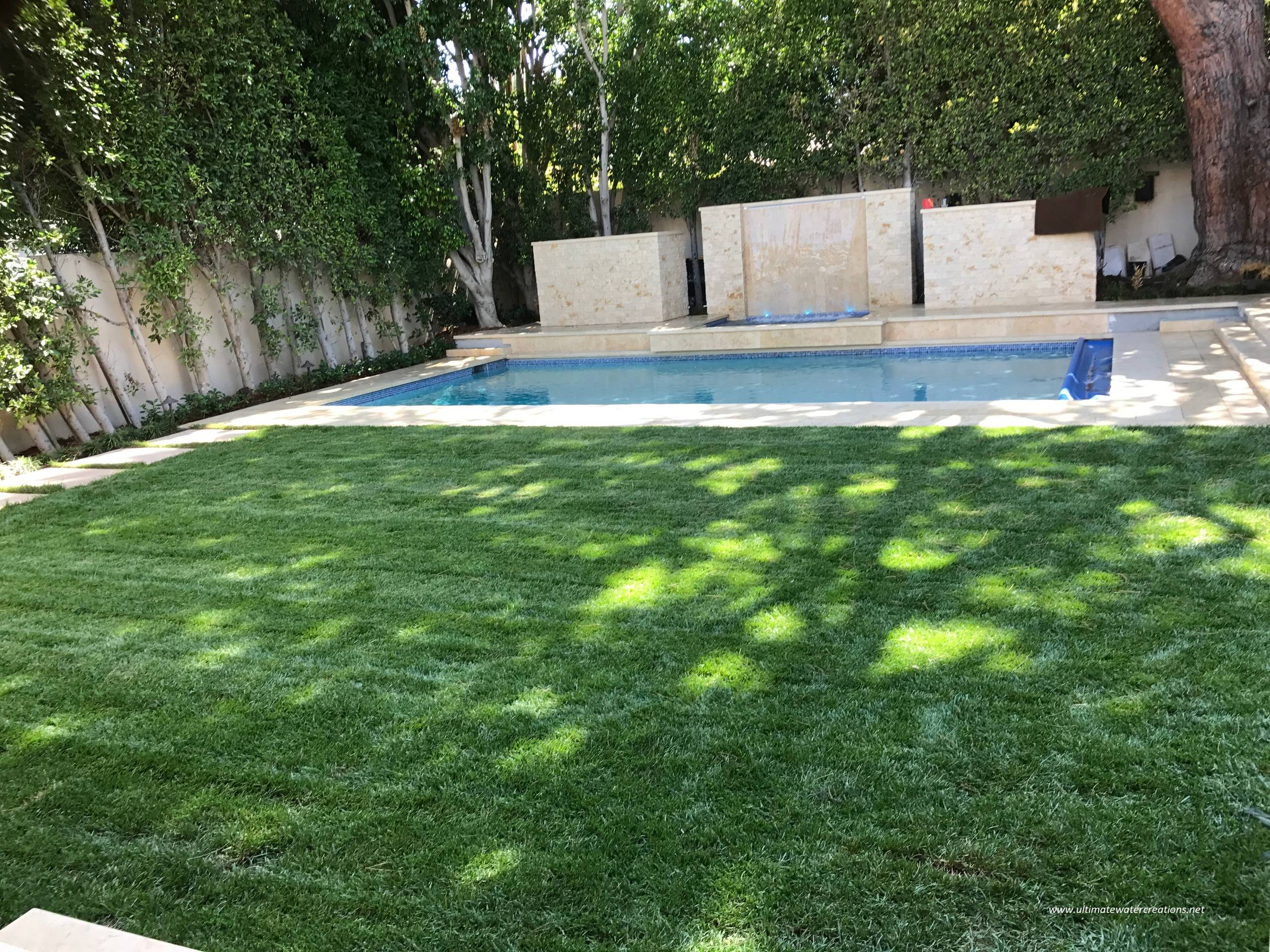 Before & After - Contemporary Pool and Spa & New Outdoor Lighted Counter Tops