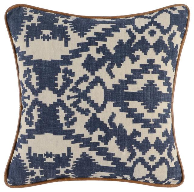 "Klamath 100% Linen 18"" Throw Pillow By Kosas Home, Indigo."