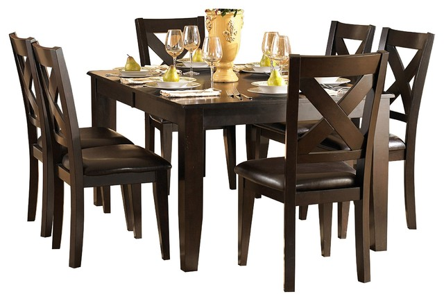 8-Piece Creekmore Casual Modern Dining Set Table, 6 Chair, Server Merlot
