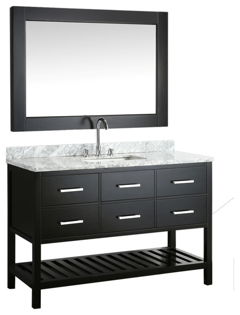 "London 54"" Single Sink Vanity Set, Espresso With White Carrera Marble Top."