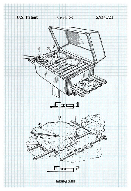 Park Barbecue Grill Poster Patent Art Print Contemporary