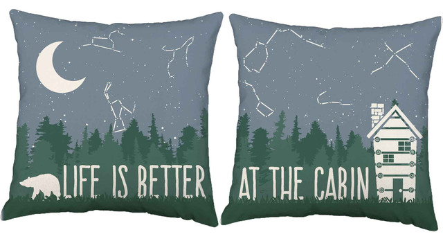 Life is Better at the Cabin Throw Pillows, In/Outdoor Covers Only