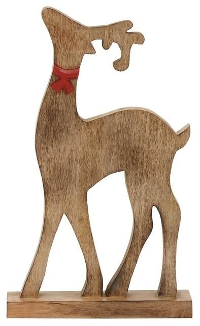 Wood Finish Reindeer Decor.