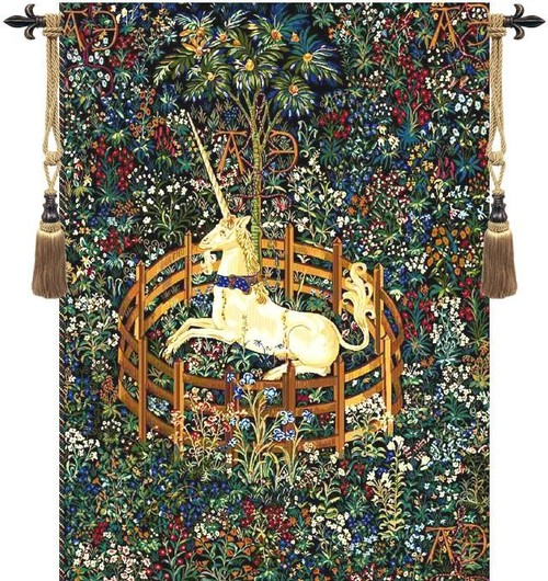 Unicorn in Captivity I Tapestry Wall Art Hanging