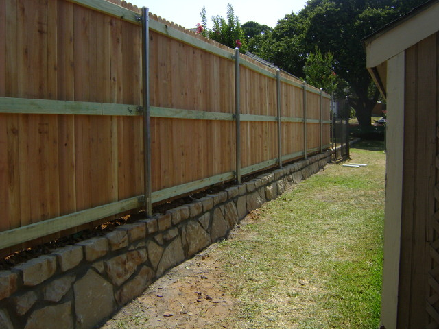 Cedar Privacy Fence On Stone Retaining Wall Dallas By