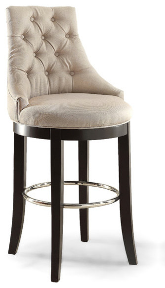 Harmony Button Tufted Upholstered Bar Stool Beige