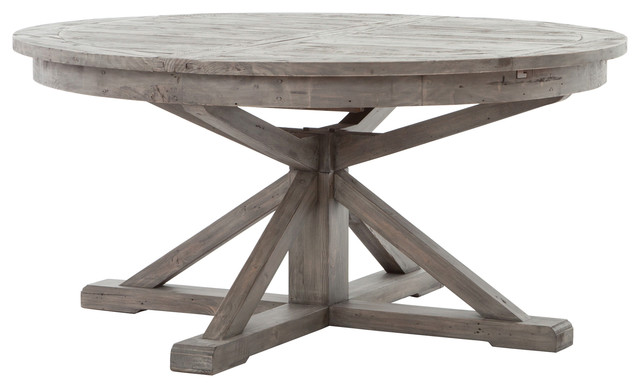 Chabert French Reclaimed Wood Extendable Round Dining Table Rustic Tables By Kathy Kuo Home