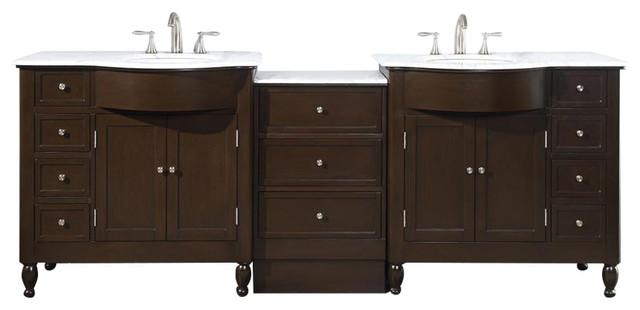 "Truman Double Sink Bathroom Vanity, White Carrara Marble Top, 95""."