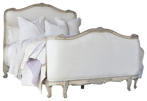 Eloquence� Sophia King Bed in Silver Antique White Two-Tone. Swedish decor inspiration, French and Gustavian Design Style from Eloquence. #swedish #interiordesign #frenchcountry #gustavian #nordic #decoratingideas #whitedecor #eloquence #furniture