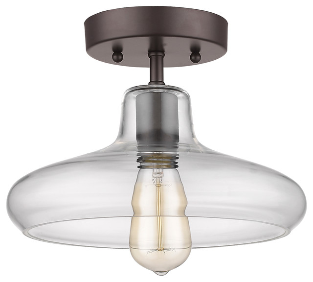 ironclad 1 light semi flush ceiling fixture rubbed bronze