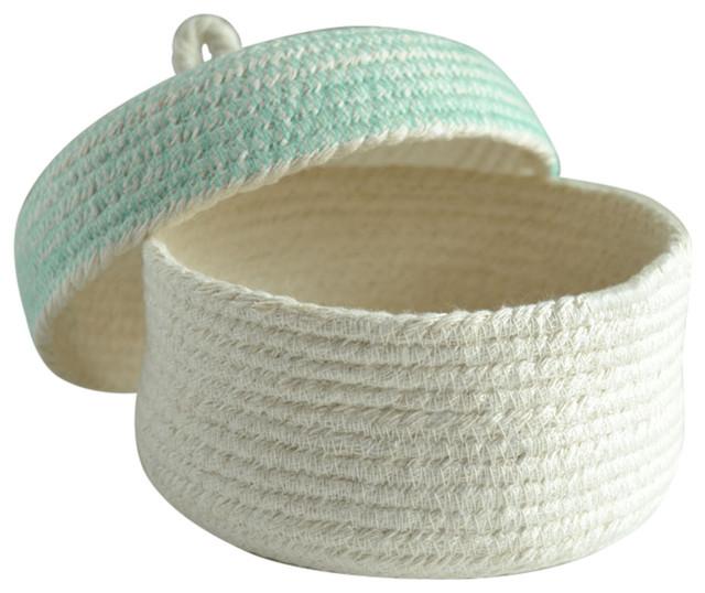 Cotton Box With Lid, Aqua