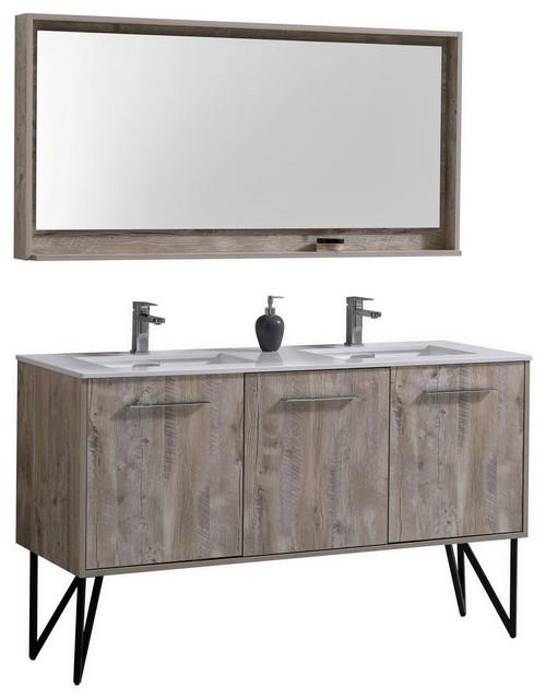 Bosco 60 Double Modern Bathroom Vanity Quartz Countertop And Matching Mirror Vanities