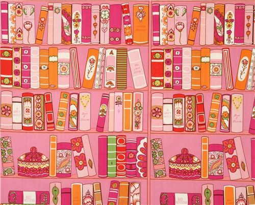 Pink Alexander Henry Bookshelf Fabric With Books