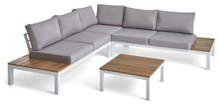 GDF Studio Leo Outdoor Aluminum V-Shaped Eucalyptus Wood ...