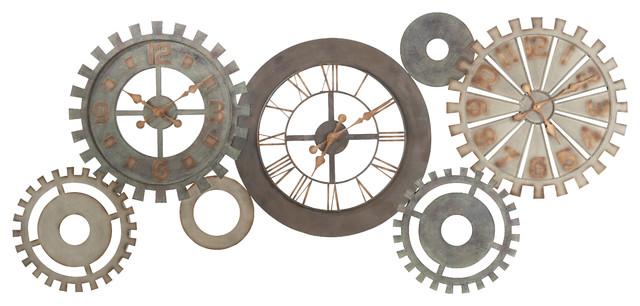 Horloges rouages en m tal l 164 cm m canisme - Horloge murale style industriel ...