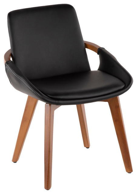 Lumisource Cosmo Chair, Walnut and Black PU Leather