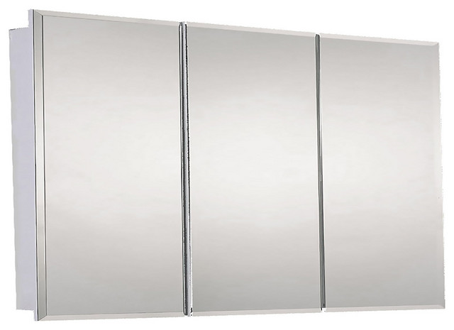 "Tri-View Series Medicine Cabinet, 48""x30"", Beveled Edge, Surface Mounted"