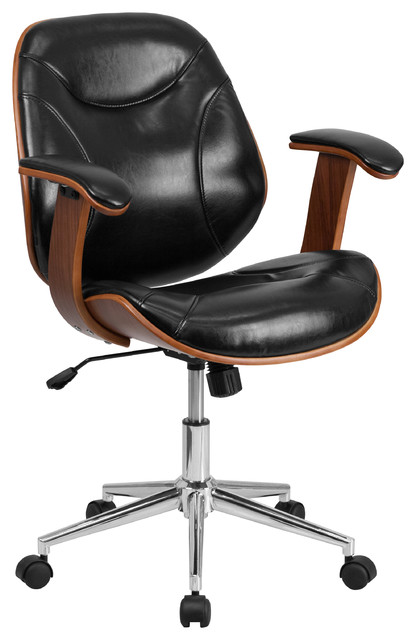 Flash Furniture Sd-Sdm-2235-5-Bk-Gg Mid-Back Leather Chair, Black, Walnut.