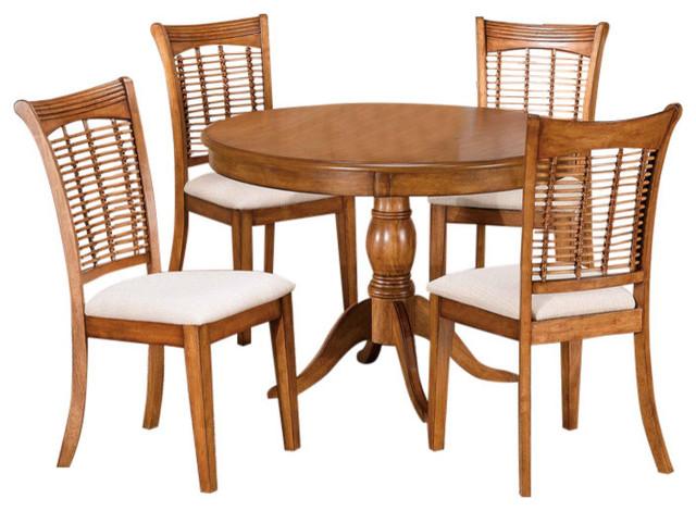 Bayberry 5-Piece Round Dining Set, Oak.