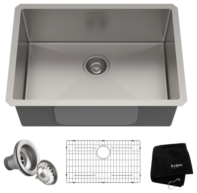 "26"" Undermount Stainless Steel Kitchen Sink, Single Bowl 16 Gauge"