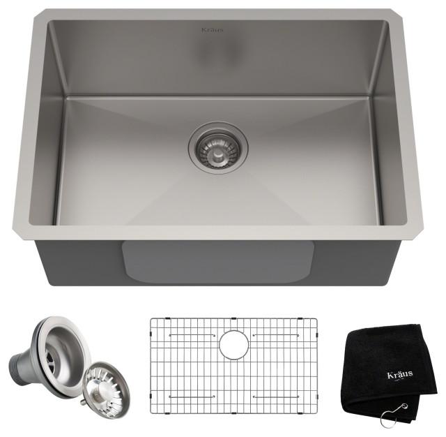 """26"""" Undermount Stainless Steel Kitchen Sink, Single Bowl 16 Gauge"""