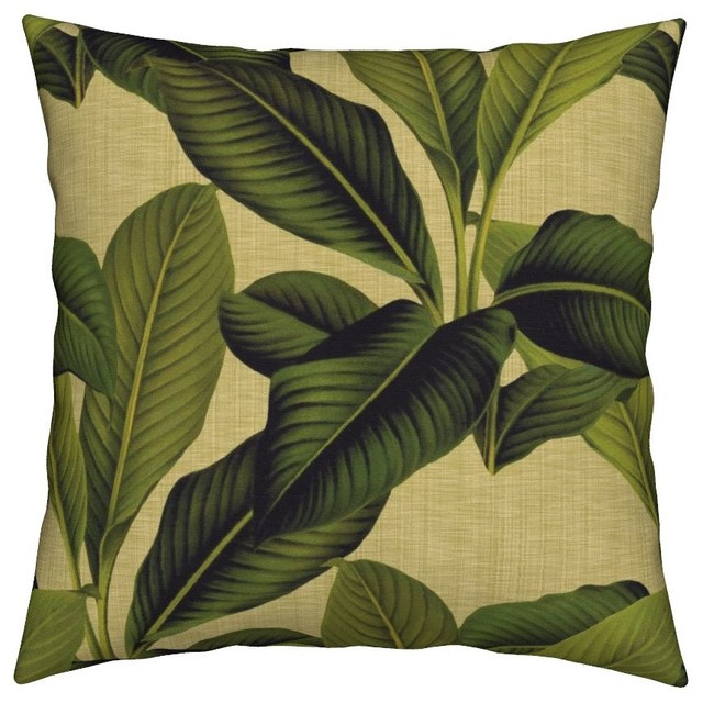 Palm Leaves Botanical Green Tropical Linen Throw Pillow