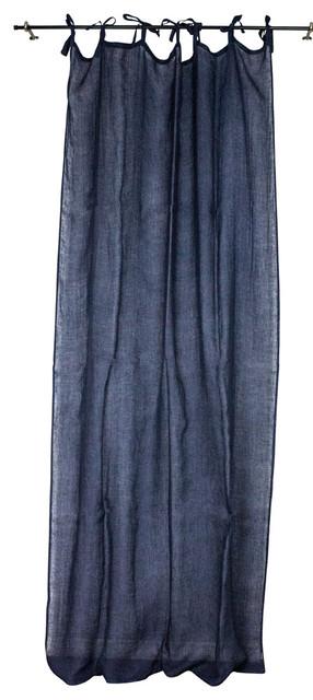Linen Sheer Curtain Panel, Navy.