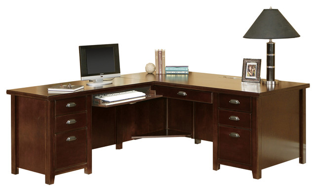 Tribeca Loft Cherry Left L Shaped Desk Traditional