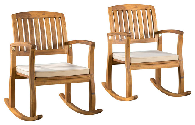Gdf Studio Sadie Outdoor Acacia Wood Rocking Chairs With Cushions Set Of 2