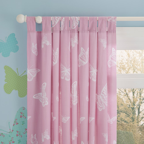 Favorite Pink butterfly curtains with white butterflies KX24