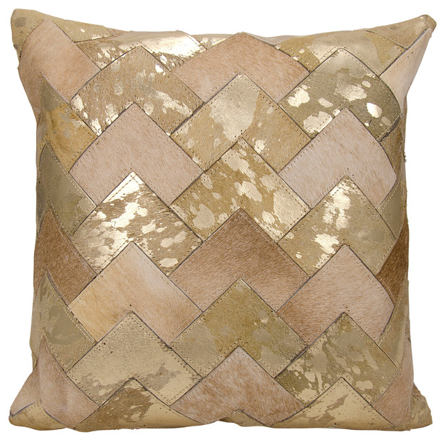 Nourison mina victory natural leather chevron pillow for Beige and gold pillows