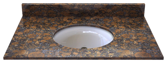 Sable Brown Granite Top With Pre-Mounted Ceramic Bowl.