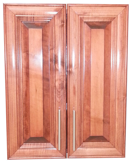 "Edison 32"" 2-Door Recessed Frameless Medicine Cabinet, 2.5""d, Dark Cherry."