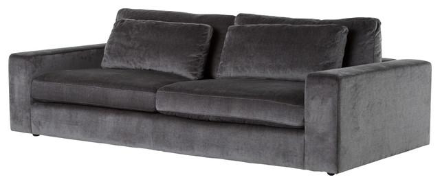 """Contemporary Charcoal Gray Velvet Upholstered Sofa 98""""."""