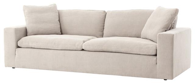 Amazing Tomas Modern Classic Tan Upholstered Lawson Sofa
