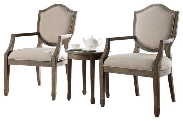 Kourtney Accent Arm Chair and Table Set, Antique-Style Natural, 3-Piece - Kourtney Accent Arm Chair And Table Set, Antique-Style Natural, 3