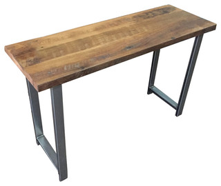 """Reclaimed Wood Industrial Console Table With H Legs, Light Finish 36""""x16"""""""